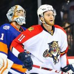 20 APR 2016: Florida Panthers center Jonathan Huberdeau (11) during Game 4 of the 2016 NHL Playoffs between the New York Islanders and the Florida Panthers played at the Braclays Center in Brooklyn,NY. (Photo by Rich Graessle/Icon Sportswire)