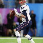 Feb 4, 2018; Minneapolis, MN, USA; New England Patriots quarterback Tom Brady (12) throws in the pocket against the Philadelphia Eagles in Super Bowl LII at U.S. Bank Stadium. Mandatory Credit: Matthew Emmons-USA TODAY Sports