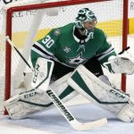 Dallas Stars goaltender Ben Bishop (30) stops a shot by the New York Rangers during the second period of an NHL hockey game Monday, Feb. 5, 2018, in Dallas. (AP Photo/Ron Jenkins)