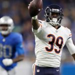 Nov 22, 2018; Detroit, MI, USA; Chicago Bears free safety Eddie Jackson (39) makes an interception for a touchdown against Detroit Lions quarterback Matthew Stafford (not pictured) during the fourth quarter at Ford Field. Mandatory Credit: Raj Mehta-USA TODAY Sports