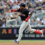 NEW YORK, NEW YORK - AUGUST 15:  Jose Ramirez #11 of the Cleveland Indians celebrates his grad slam as he rounds the bases in the first inning against the New York Yankees at Yankee Stadium on August 15, 2019 in the Bronx borough of New York City. (Photo by Elsa/Getty Images)