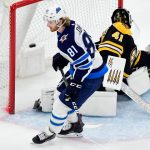BOSTON, MA - JANUARY 29: Kyle Connor #81 of the Winnipeg Jets scores past Jaroslav Halak #41 of the Boston Bruins during the shootout portion of an NHL hockey game at TD Garden in Boston, Massachusetts on January 29, 2019. The Jets won 4-3. (Staff Photo By Christopher Evans/MediaNews Group/Boston Herald)