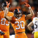 Nov 25, 2018; Denver, CO, USA; Denver Broncos running back Phillip Lindsay (30) reacts after a play in the fourth quarter against the Pittsburgh Steelers at Broncos Stadium at Mile High. Mandatory Credit: Isaiah J. Downing-USA TODAY Sports