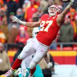 Dec 24, 2017; Kansas City, MO, USA; Kansas City Chiefs tight end Travis Kelce (87) is unable to make the catch as Miami Dolphins cornerback Torry McTyer (33) defends in the second half at Arrowhead Stadium. Mandatory Credit: Jay Biggerstaff-USA TODAY Sports